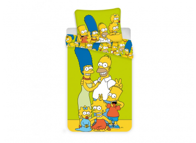 DĚTSKÉ POVLEČENÍ- Simpsons family green 140/200cm 70/90cm